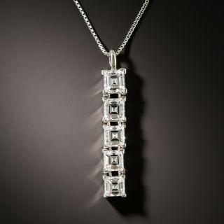 Estate Five Stone Emerald-Cut Diamond Drop Necklace - 3