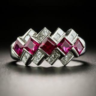 Estate Five Stone Ruby and Diamond Geometric Band Ring - 2