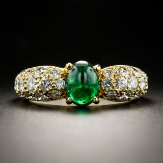 Estate French Cabochon Emerald and Diamond Ring - 1