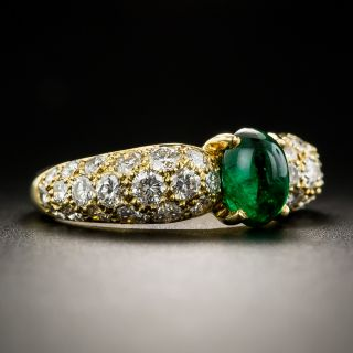 Estate French Cabochon Emerald and Diamond Ring