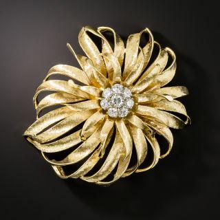 Estate French Flower Diamond Brooch - 2