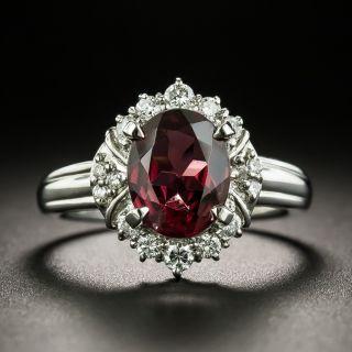 Estate Garnet and Diamond Halo Ring - 2