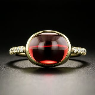 Estate Garnet Cabochon and Diamond Ring - 2
