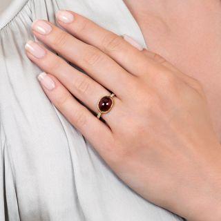 Estate Garnet Cabochon and Diamond Ring