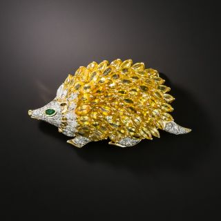 Estate Gem-Set Hedgehog Brooch - 1