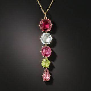 Estate Gold Tourmaline Aquamarine and Peridot Pendant Necklace - 2