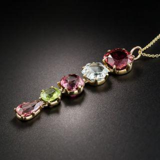 Estate Gold Tourmaline Aquamarine and Peridot Pendant Necklace