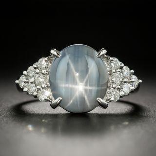 Estate Gray-Blue Star Sapphire and Diamond Ring - 1