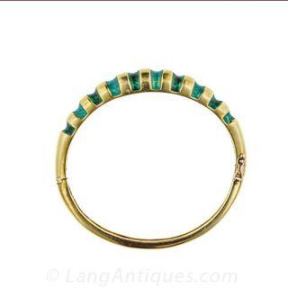 Estate Green Enamel Bangle Bracelet