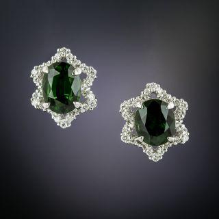 Estate Green Tourmaline and Diamond Earrings - 2
