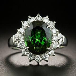 Estate Green Tourmaline and Diamond Halo Ring - 3