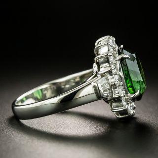 Estate Green Tourmaline and Diamond Halo Ring
