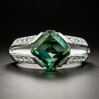 Estate Green Tourmaline Platinum Diamond Ring - 1