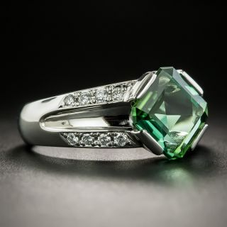 Estate Green Tourmaline Platinum Diamond Ring