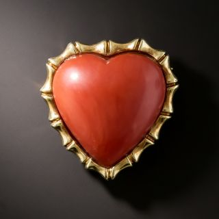 Estate Heart-Shaped Coral Brooch - 2