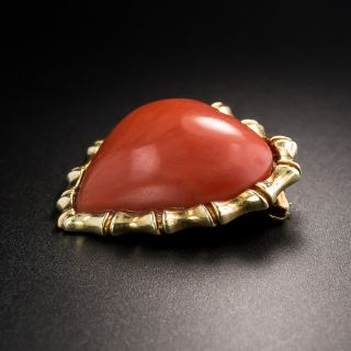 Estate Heart-Shaped Coral Brooch