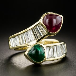 Estate Heart-Shaped Ruby and Emerald Cabochon and Diamond Bypass Ring - 1