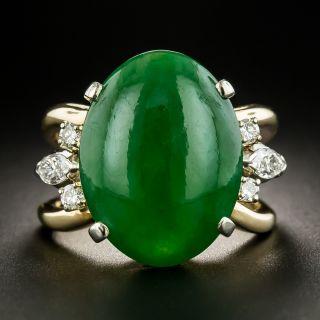 Estate Jade and Diamond Ring - 2