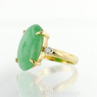 Estate Jade and Diamond Ring from Gumps of San Francisco