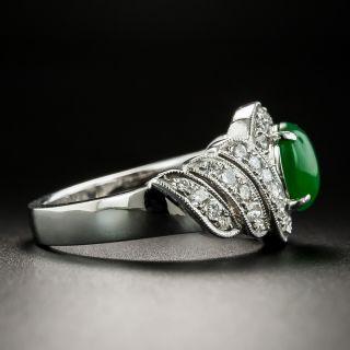 Estate Jade Cabochon and Diamond Spiral Ring