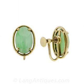 Estate Jade Earrings by Gumps of San Francisco