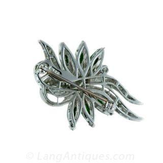Estate Jadeite Jade & Diamond Brooch