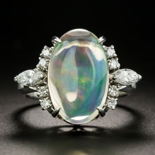 Estate Jelly Opal and Diamond Ring - 1