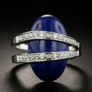 Estate Lapis and Diamond Moderne Ring  - 3