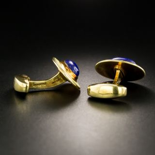 Estate Lapis and Yellow Enamel Cufflinks by Deakin & Francis