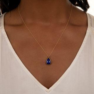 Estate Lapis Lazuli Drop Solitaire Pendant