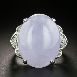 Estate Large Lavender Jade and Diamond Ring - 2