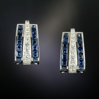 Estate Large Sapphire and Diamond Hoop Earrings - 2