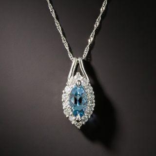 Estate Marquise Cut Aquamarine and Diamond Pendant - 2
