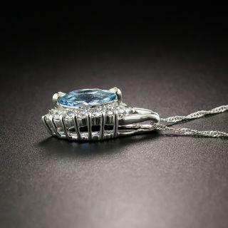 Estate Marquise Cut Aquamarine and Diamond Pendant