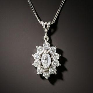 Estate Marquise-Cut Diamond Halo Pendant - 2