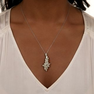 Estate Marquise-Cut Diamond Pendant Necklace