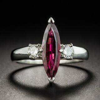 Estate Marquise Cut Rubellite Tourmaline and Diamond Ring - 2