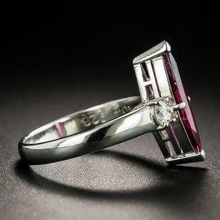 Estate Marquise-Cut Rubellite Tourmaline Platinum Diamond Ring