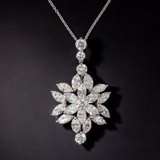 Estate Marquise Diamond Flower Pendant - 0