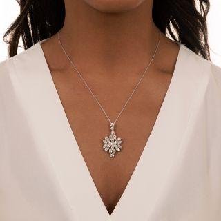 Estate Marquise Diamond Flower Pendant