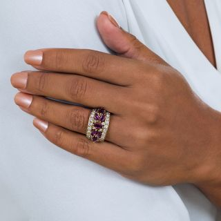 Estate Marquise Ruby and Diamond Band Ring