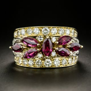 Estate Marquise Ruby and Diamond Band Ring - 2