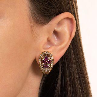 Estate MarquiseRuby and Diamond Earrings