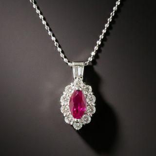 Estate Marquise Ruby Diamond Pendant Necklace - 2