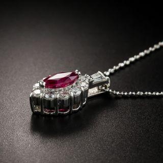 Estate Marquise Ruby Diamond Pendant Necklace