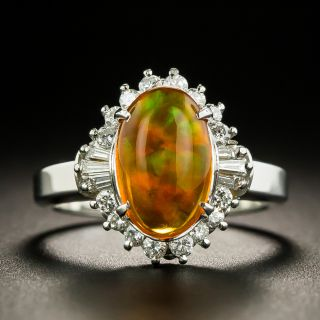 Estate Mexican Fire Opal and Diamond Halo Ring - 1