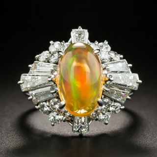 Estate Mexican Fire Opal and Diamond Ring - 1
