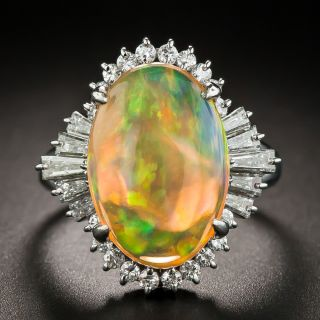 Estate Mexican Opal and Diamond Ring  - 1
