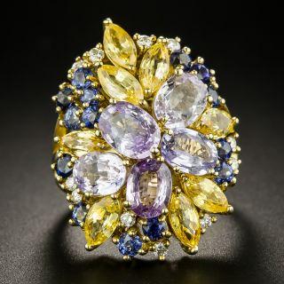 Estate Multi-Colored Sapphire Cluster Ring - 3