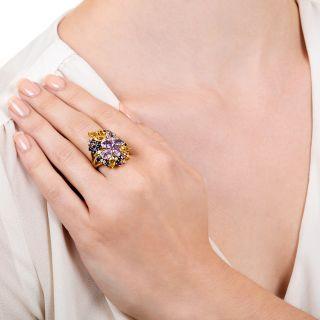 Estate Multi-Colored Sapphire Cluster Ring